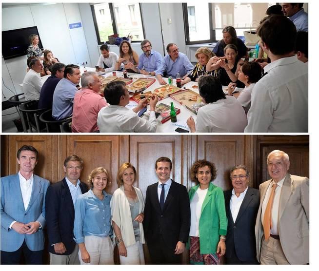 Los candidatos y su comida con apoyos. (EFE)